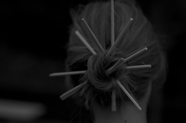 chopsticks in jana's hair