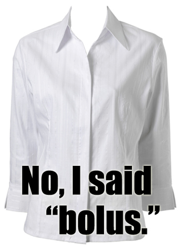 """No, I said BOLUS.  Not blouse!"""