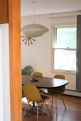 Urbana house :: Aug 2011 (carissapod :: fish parade) Tags: green clock lamp yellow modern century table george chair aluminum side group shell nelson miller diningroom herman bubble mustard eames spindle mid saucer seafoam rosewood sideroom hbase