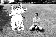 365- Day 64. Horton and Me, we're best friends, you see. (Kyra Elizabeth) Tags: portrait bw white selfportrait black cute childhood photoshop self canon project children book day child dr year cartoon books wb seuss 64 story memory horton childrens 365 everyday drseuss childrensbook challenge day64 edit hortonhearsawho blackandwhitewhite 60d 365project portraitaday everydayforayear