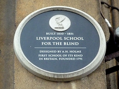 Photo of Liverpool School for the Blind and A. H. Holme black plaque