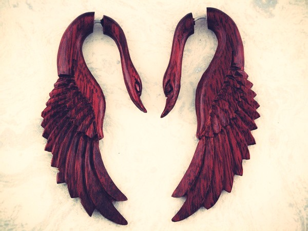 Yafah Swans - Organic Blood Wood Fake Gauges Earrings by TribalStyle Etsy.jpg_effected