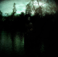 Dark soul (batabidd) Tags: trees winter sky woman black cold water clouds photoshop dark mujer eyes woods agua darkness artistic turquoise branches negro digitalart creative creepy textures digitalpainting bosque textured oscuridad oscuro eeire turquesa batabidd