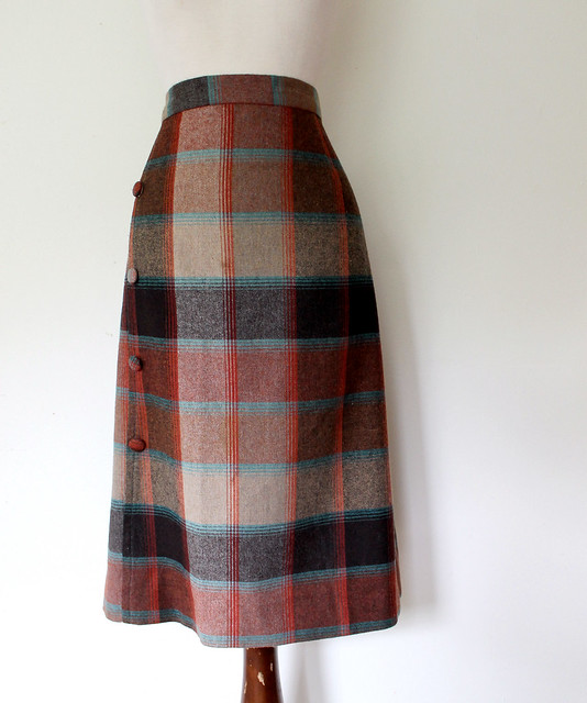 Autumn Plaid A-line Skirt, vintage 70s