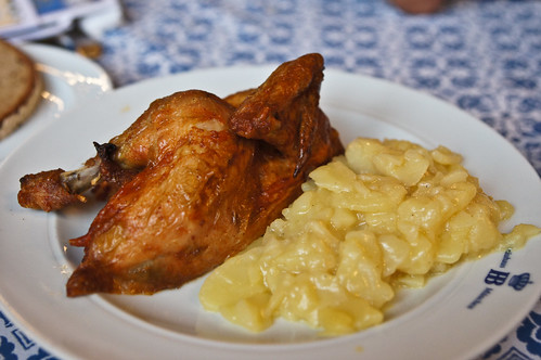 Roast chicken with potato salad