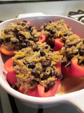 Black Bean and Quinoa Stuffed Peppers