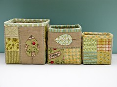 Nesting Boxes (PatchworkPottery) Tags: leaf handmade sewing fabric baskets quilted boxes patchwork applique