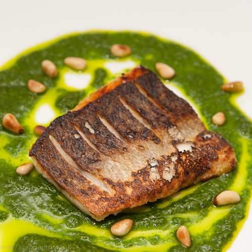 Seabass, watercress pesto, toasted