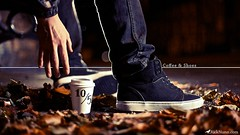 Coffee & Shoes (Rick Nunn) Tags: wet coffee leaves bench leaf shoes hand jeans sit vans reach sharpie grab laces fenchurch offthewall ef50mmf14usm strobist