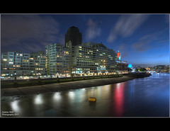 South Side # 2 (Aubrey Stoll) Tags: uk longexposure windows england london thames reflections nikon apartment tripod southbank gb nightshots bouy southwark offices oxotower blackfriarsbridge waterloobridge seacontainershouse d700