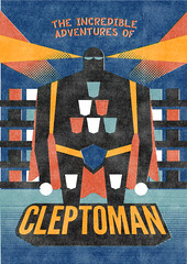 CLEPTOMAN (jergot+gotroch) Tags: vintage comics poster retro plugin mister deviant heroes press league permanent pyroman permanentpress nymphoman misterretro cleptoman