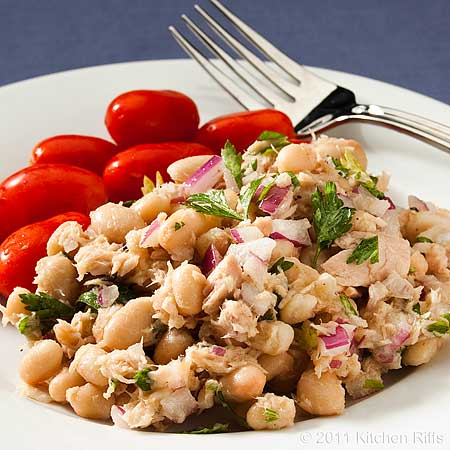 White Bean and Tuna Salad on plate with grape tomatoes