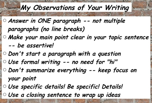 Observations on Paragraph Writing