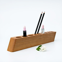 Pearwood COSMETIC MAKEUP ORGANIZER Scarlett P by LESS & MORE (Less&More) Tags: modern design handmade minimalist homedecor countertop productphotography pearwood naturalwood lessandmore lessmore makeuporganizer cosmeticorganizer