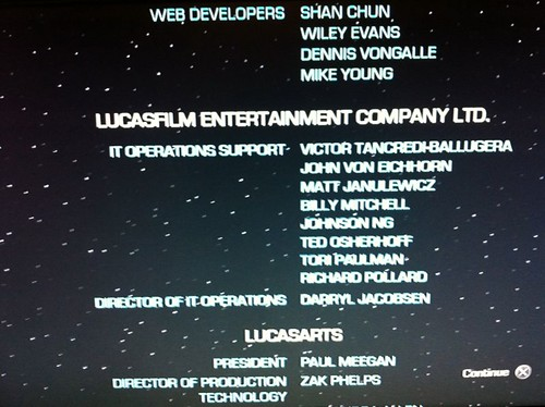 I beat Star Wars: Force Unleashed 2, and my friend John appeared in the credits.