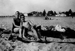 Pleasure Beach (Wires In The Walls) Tags: blackwhite seaside connecticut shoreline ct grandparents 1950s scanned hotdogs bridgeport bathhouse pleasurebeach swimcap roesslers