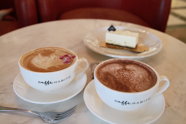 Rose Latte, Hot Chocolate & Aloe Vera Cake - Caffe Habitu