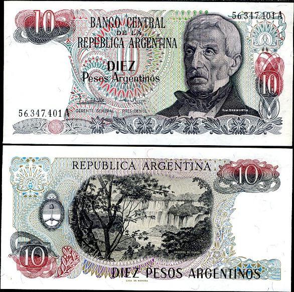 10 Pesos Argentinos Argentína 1983-84, Pick 313