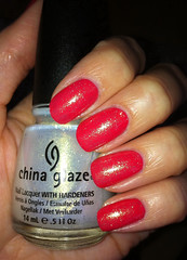 Rimmel Coralicious layered with China glaze White cap. (SuzanneM7) Tags: coral gold layered rimmel rimmel60second chinaglazewhitecap