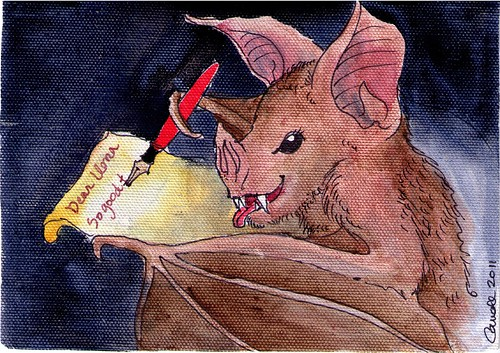 AMAZING writing bat postcard from Carroll!