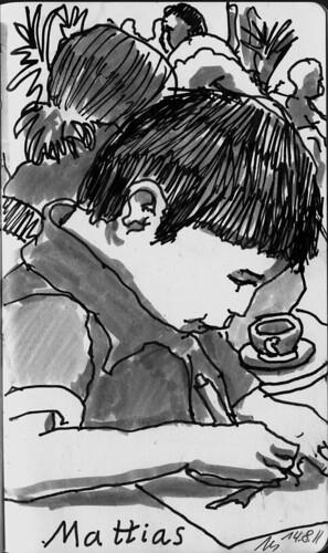 Mattias sketching by manfred schloesser