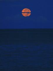 orange moonset (bluewavechris) Tags: ocean sea sky moon color water clouds hawaii maui moonset 8132011