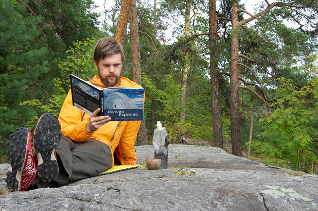 Reading at the outdoor office.