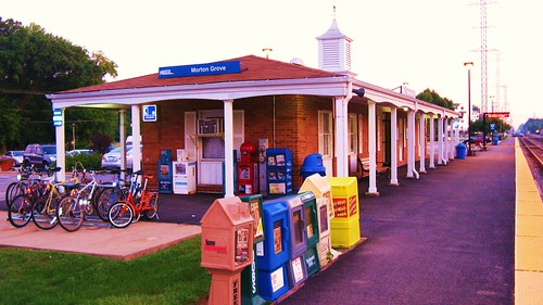 Sunrise at the Morton Grove Metra commuter rail station.  Morton Grove Illinois USA.  August 2011. by Eddie from Chicago