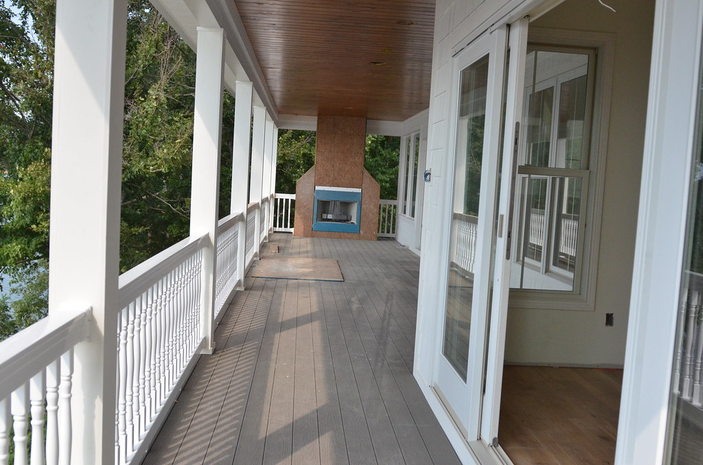 porch railing and fireplace