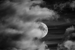 Half Moon (mrcheeky2009) Tags: sky blackandwhite bw dramatic nightsky drama halfmoon