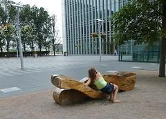 Solid elm (helenoftheways) Tags: sculpture solidelmwood canarywharf people businessquarter london bench freeassociation