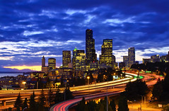 City in Motion (David Shield Photography) Tags: seattle city longexposure light sunset sky motion color skyline clouds nikon downtown cityscape traffic explore freeway washingtonstate beaconhill urbanlandscape twighlight explored