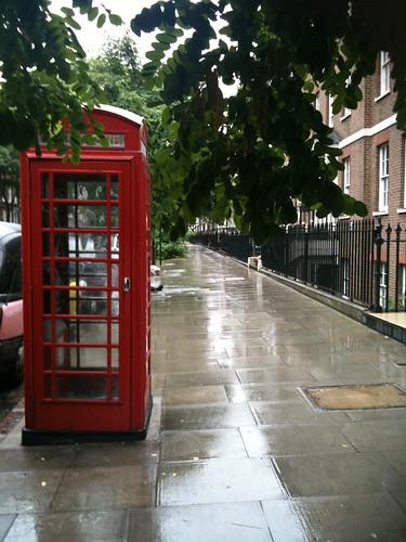 London Telephone box in the rain