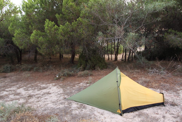 Ad hoc camp near the beach in Plage Mesu, west of Iglesias.
