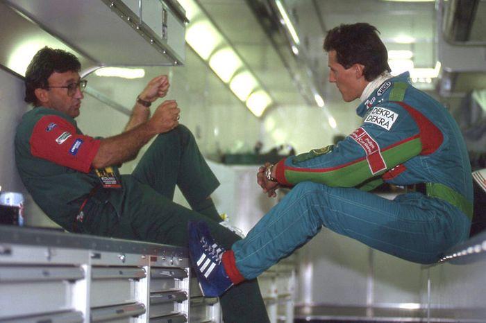 Эдди Джордан и Михаэль Шумахер на Гран-при Бельгии, 1991-й год