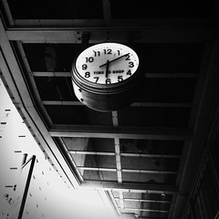 Time To Shop (sunraa) Tags: clock monochrome lines shadows squareformat grids odc bsquare project365 monomania iphone4 iphoneography cameraplus ourdailychallenge lifeinlofi mobitog iphoneogenic snapseed