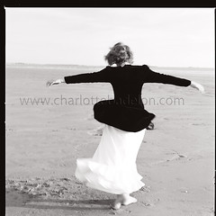 Mathilde (charlottebadelon) Tags: sea summer blackandwhite woman 6x6 beach water fashion freedom brittany dancing noiretblanc dream young dreaming hasselblad bsquare hasselblad500c