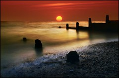 Whitstable Sunrise (adrians_art) Tags: longexposure sky cloud beach reflections coast shore groynes seawater