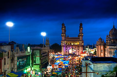 ramazan month at charminar (swarat_ghosh) Tags: street city travel india tourism festival asia nightscape visit bluehour hyderabad ramadan festivities hdr charminar ramazan andhrapradesh ramzan lastsaturday holymonth idulfitr swaratghoshphotography ramazanmonth