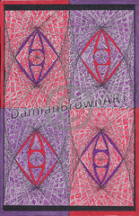 Optical Illusion Abstract (Damian Brown Art) Tags: red abstract black lines weird purple shapes optical illusion straight trippy scribble detailed intricate