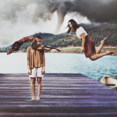 It's a Twister! (Marie Dcker) Tags: girls friends portrait lake selfportrait weather canon wind levitation manipulation violin concept tornado naturaldisaster thewizardofoz 50mm18 eos450d conceptualphotography