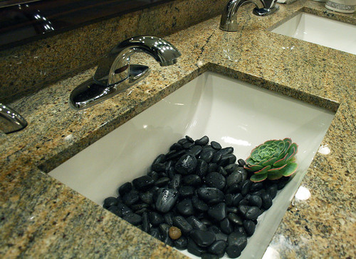 Rocks in bathroom sink
