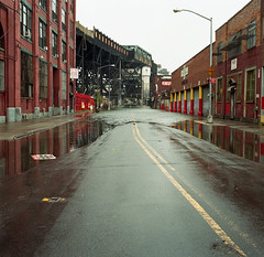 Post-Irene: Gowanus Canal Overflow on 9th Street (triebensee) Tags: storm brooklyn zeiss hurricane hasselblad tropical irene f28 planar 80mm 500cm kodakportra800 brooklynian