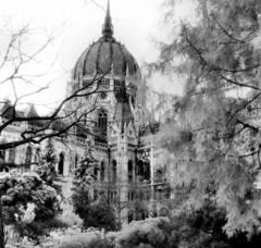 Parliament Building (Orszghz), Budapest (Rodney A. Johnson) Tags: blackandwhite building castle