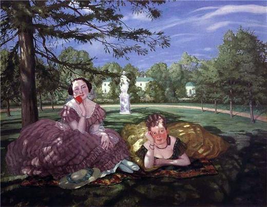 Альбомная лірыка, прысвечаная Сяргею Балахонаву. Карціна: Сомов К.А. Две дамы в парке