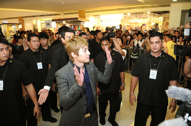 Kim Hyun Joong arrives at Trinoma