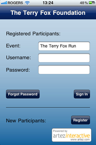 Terry Fox Foundation iPhone Application