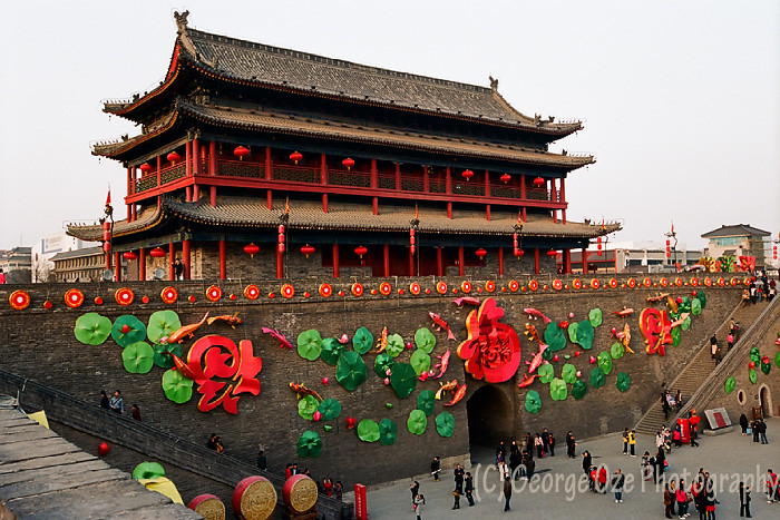 Xi'an City Walls with Tower Decorated for Chinese New Year Celebration, Shaanxi, China