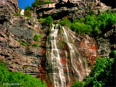 Bridal Veil Falls in Style (Frodo1967) Tags: light red mountain mountains color texture water rock river utah waterfall scenery rocks canyon cliffs saltlakecity layers geology bridalveilfalls hdr provo nationalgeographic provocanyon utahcounty 3xp provocayon frodo1967