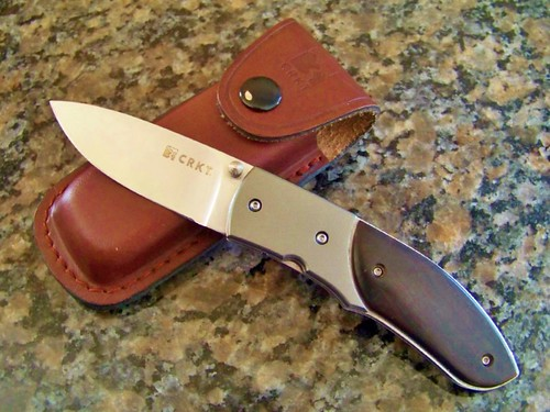 "Columbia River Kommer 30-30 Folder Knife 3"" Blade Ebony Scales & Leather Sheath"